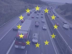 EU flag overlaid on motorway image
