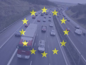 Vehicles on motorways with EU flag showing