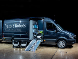 Mercedes-Benz Sprinter fitted out with robots