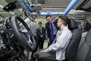 Business secretary Greg Clark at a visit to the Nissan Technical Centre Europe (NTCE) in Cranfield, Bedfordshire