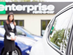 Car outside Enterprise Rent A Car branch