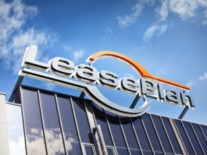 LeasePlan logo over building
