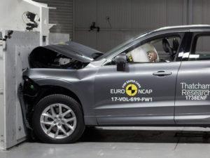 Volvo XC60 undergoing crash safety tests