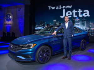 VW's Dr Diess presenting the new VW Jetta.