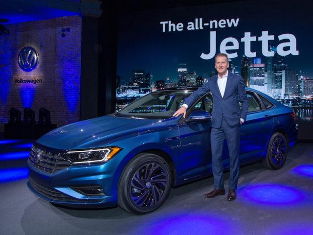 VW's Dr Diess presenting the new VW Jetta.