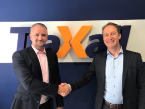 Traxall CEO Ross Jackson (left) welcomes Leomont Wouda as international business development director