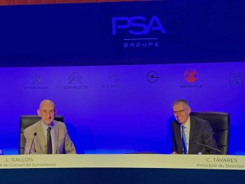 Carlos Tavares (right) speaking at the Groupe PSA AGM, held on 25 June 2020